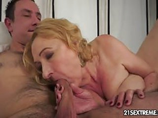 Horny Blonde Granny Sucking Cock and Gets Fucked