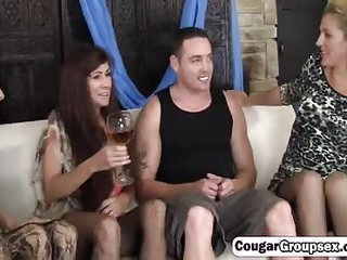 Spicy bisexual cougars nice foursome