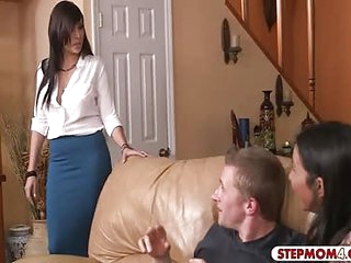 Big tits milf and sweet teen threeway sex on the couch