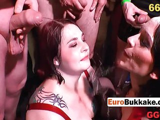 BBW babes fuck hard and get soaked in cum