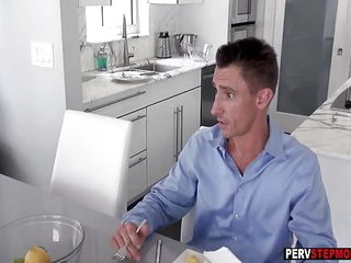 Blonde MILF stepmom sucks a stepsons dick in front of a dad