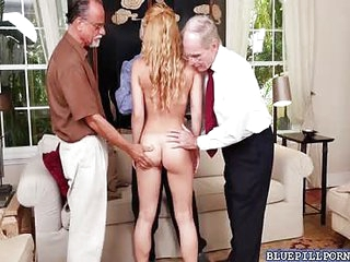 Blonde babe Raylin Ann group fucking with grandpas in a hardcore mature foursome