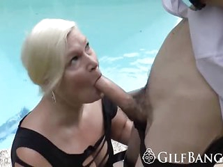 Granny gets all holes fucked by pool guy