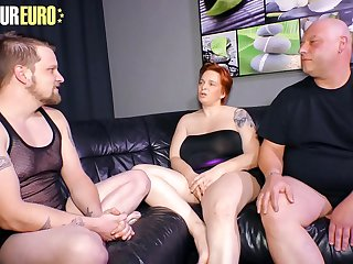 AMATEUR EURO  Redhead German Cathrin Swing Her Two Lovers For More Pleasure