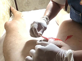 Brazilian waxing of a large ramrod part three waxing the shaft.mov