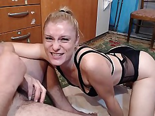 My friend's mom sucks my big dick. She was scared when she put it all in her mouth and felt it in her throat