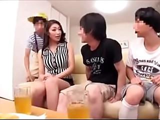 Japanese mom threesome