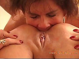 Filthy mom eats her daughters ass
