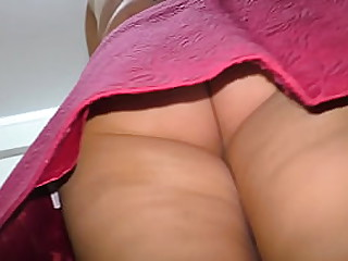 The son looked under the skirt of his step mom. Anal sex at home