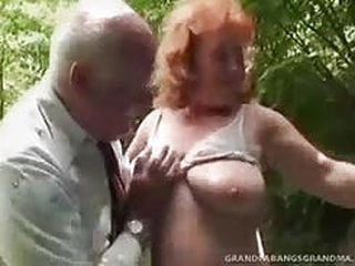 Busty mature Daniela has got a pair of big boobs that bounce very time she jumps on old man's penis