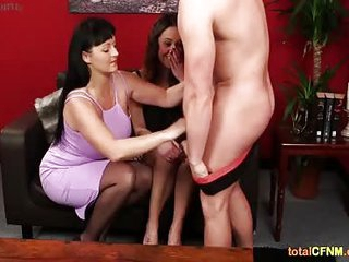Mature CFNM Brunette Strips A Guy