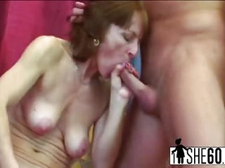 Slutty granny Ivet goes wild with young cock shaking her saggy old tits and getting fucked in her mature vag