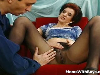 Horny Old Mama Fucked In Pantyhose Getting Her Mature Body Fucked By Younger Neighbor