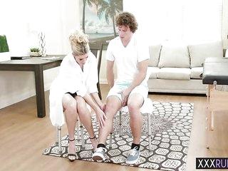 Perverted big tits mature massage and sucks a big cock