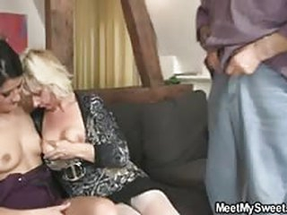 porno tube His GF shares his dad's cock with his mom