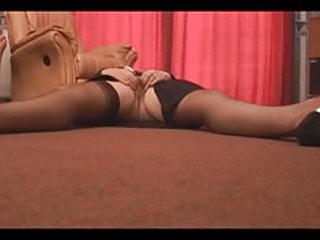 xxx video granny in stockings and girdle shows off hairy pussy