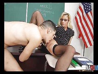 Blonde Glasses Wearing MILF In Black Stocking Regan Anthony