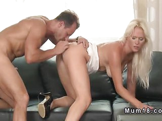 Blonde wife banging in different positions on the sofa